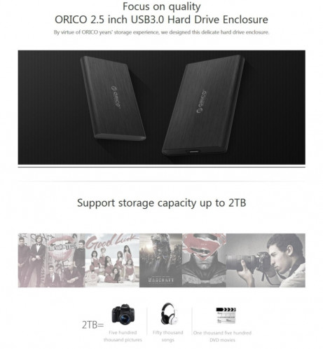 ORICO 2189U3 2,5 pouces USB 3.0 Micro B vers SATA 3.0 boîtier de stockage de boîtier de disque dur SO59111459-011