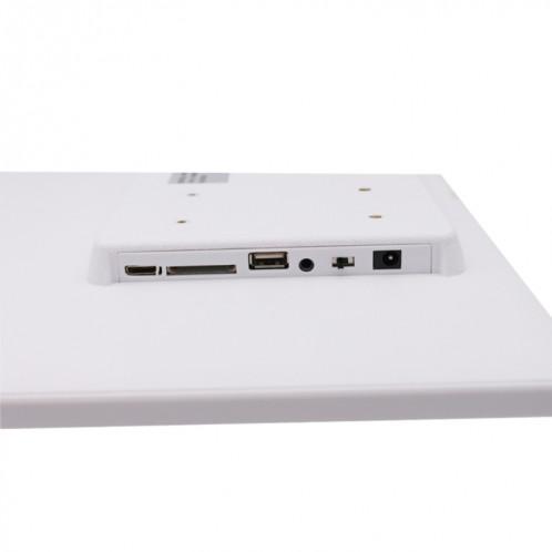 Cadre photo numérique à écran LED de 17,0 pouces avec contrôle à bouton tactile / support / télécommande, technologie Allwinner, prise en charge USB / carte SD / OTG, prise US / EU / UK (blanche) SH320W1933-09