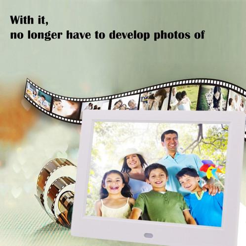 Cadre photo numérique à écran TFT AC 100-240V 8 pouces avec support et télécommande, prise en charge USB / carte SD (noir) SH512B3-08
