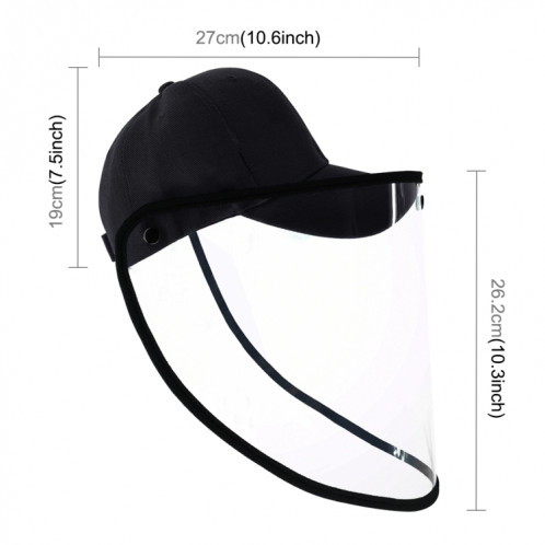 50 PCS Anti-Salive Splash Anti-Spitting Anti-Fog Anti-Oil Protective Baseball Cap Mask Masque Visage Amovible (Noir) SH463B883-012