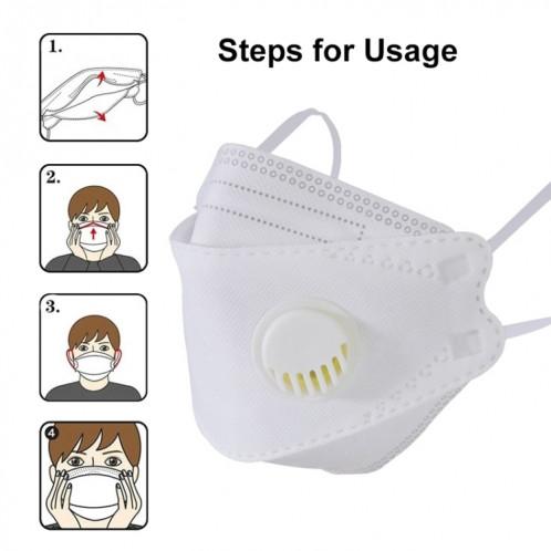 10 PCS CE Certifié KF94 Respirateur Respirant Anti-Poussière Antiviral Anti-buée Willow Masque De Protection En Forme De Feuille De Saule avec Filtre Respiratoire SH4733361-014