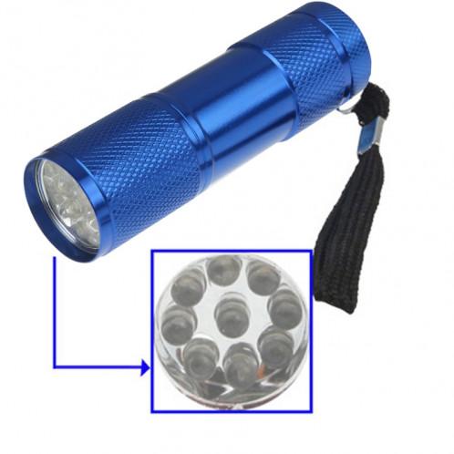 Mini lampe de poche portable, 9 LED, 1 mode, commutateur de changement de vitesse, avec sangle (bleu foncé) SH22TT1722-05