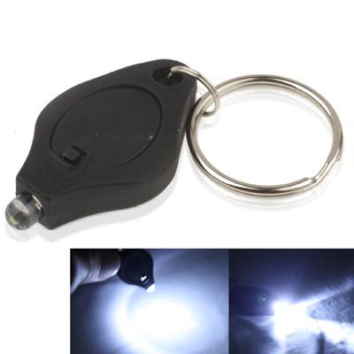 Mini lampe de poche LED, lumière blanche, fonction porte-clés, interrupteur marche / arrêt et pressostat (noir) SH025B1595-04