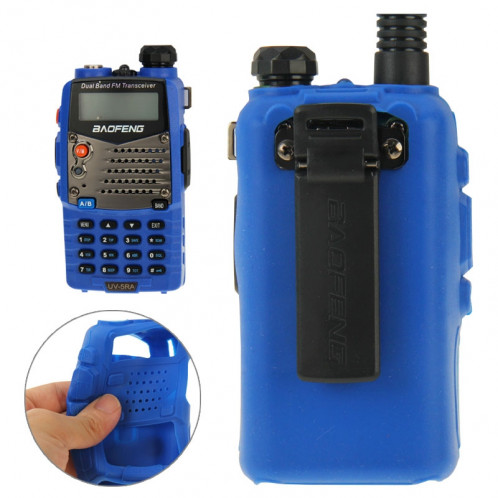 Housse en silicone Pure Color pour talkies-walkies série UV-5R (Bleu) SH696L869-08
