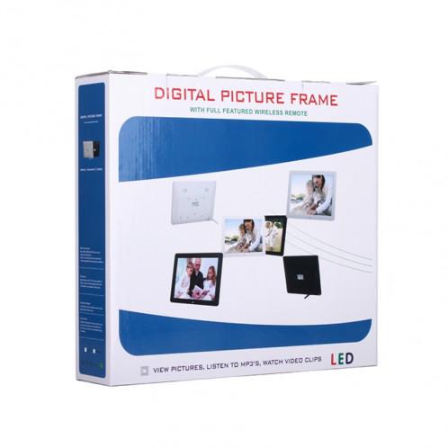 Cadre photo numérique multimédia à affichage LED de 12 pouces avec support / lecteur de musique et lecteur vidéo / fonction de télécommande, prise en charge USB / SD, haut-parleur stéréo intégré (blanc) SH017W141-011
