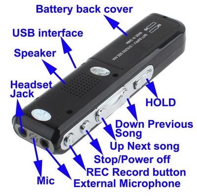 Enregistreur vocal numérique 8 Go Dictaphone Lecteur MP3, Enregistrement téléphonique, Fonction VOX, Alimentation: 2 piles AAA (Noir) SH10321922-08