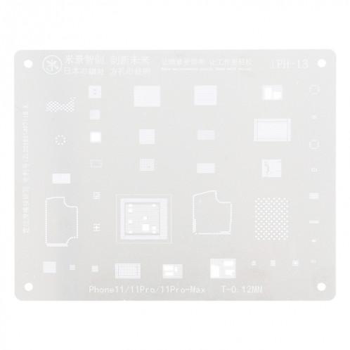 Mijing iPH-13 0.12mm BGA Reballing Stencil Planting pour iPhone 11/11 Pro / 11 Pro Max SM0139268-04
