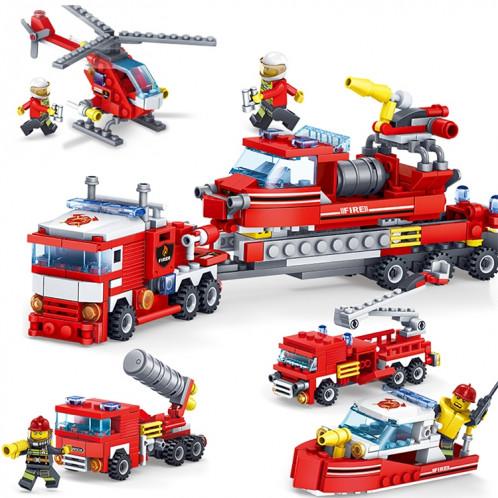 KAZI 4 en 1 définit des blocs de construction de bateau de lutte contre l'incendie de voiture d'hélicoptère de bateau de ville compatible de pompier de la ville de pompier éducatif, âge: 6 ans au-dessus SH11331670-08