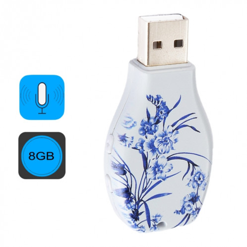 Enregistreur vocal audio portable à motif floral bleu et blanc avec motif en porcelaine, 8 Go, lecture de musique avec support SH4462970-010