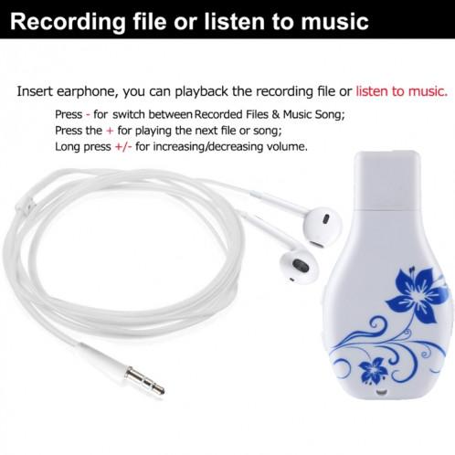Enregistreur vocal audio portable avec motif en porcelaine bleue et blanche, 16 Go, lecture de musique avec support SH44731242-09