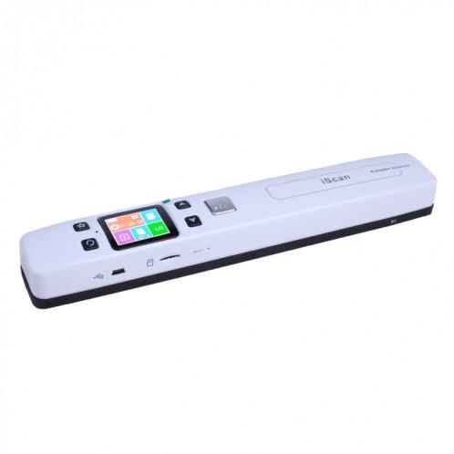 iScan02 Scanner portatif portable à double rouleau de document mobile avec l'affichage à LED, support 1050DPI / 600DPI / 300DPI / PDF / JPG / TF (blanc) SI002W9-09