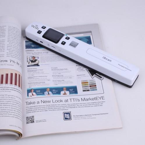 iScan02 WiFi Double Portable Mobile Document Scanner portatif avec écran LED, support 1050DPI / 600DPI / 300DPI / PDF / JPG / TF (blanc) SI003W4-09