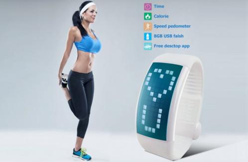 Montre bracelet podomètre Podomètre 3D / Écran LCD / Disque USB / 8Go de mémoire / Heure + Date CP2303-01