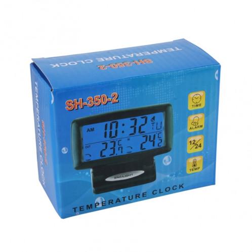 SH-350-2 Thermomètre à température numérique multifonction Réveil Écran LCD Écran LCD Détecteur de batterie SS2591-06