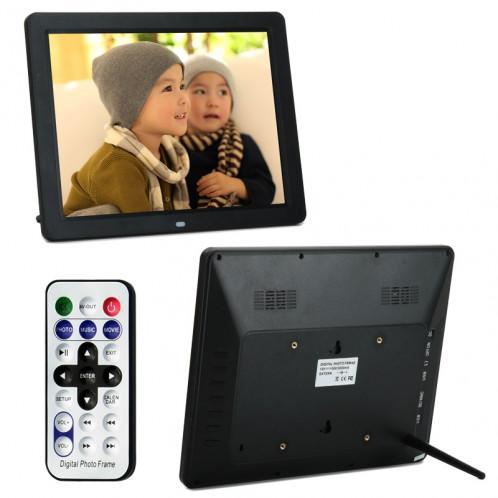 12,0 pouces Écran LED Cadre photo numérique multimédia avec support / Lecteur de musique et de film / Fonction de contrôle à distance, support USB / SD / TF / MMC / MS Card Input, haut-parleur stéréo intégré (noir) S1017B0-08