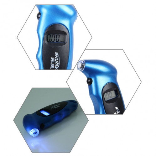 SHUNWEI SD-2802 Jauge de pression numérique des pneus 150 PSI 4 Réglages pour vélo de camion de voiture avec rétro-éclairage LCD et antidérapant (bleu) SS044L-07