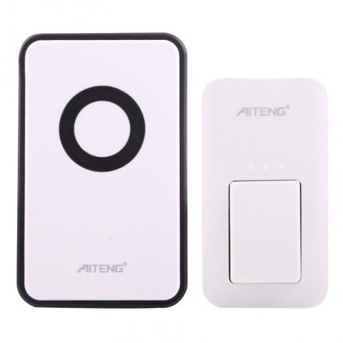 AITENG V018G Sonnette sans fil sans batterie sans vie, 1 récepteur + 1 transmetteur x, Distance du récepteur: 130 m, fiche US SA1170-08