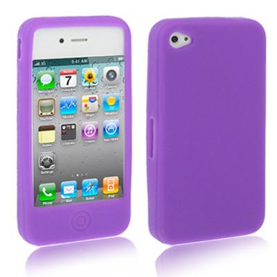 Etui en silicone pour iPhone 4 / 4S (Pourpre) ESIP4P01-01