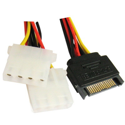 Câble d'alimentation 15 Pin vers 2 x 4 Pin SATA Y-Câble 15.2cm CA15P24P01-01
