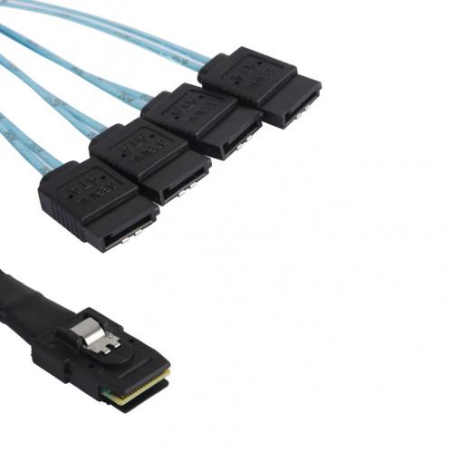 Câble Mini SAS vers 4 x SATA Female 7 Pin avec connecteur coudé 75cm CMSAS4SATA02-01