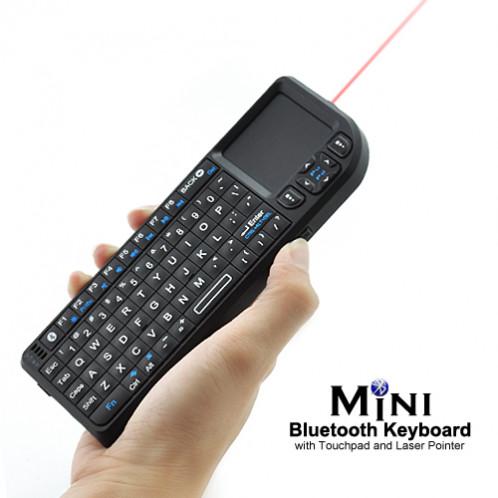 Mini Clavier QWERTY Bluetooth avec Touchpad et pointeur laser MCQBTTPL01-08