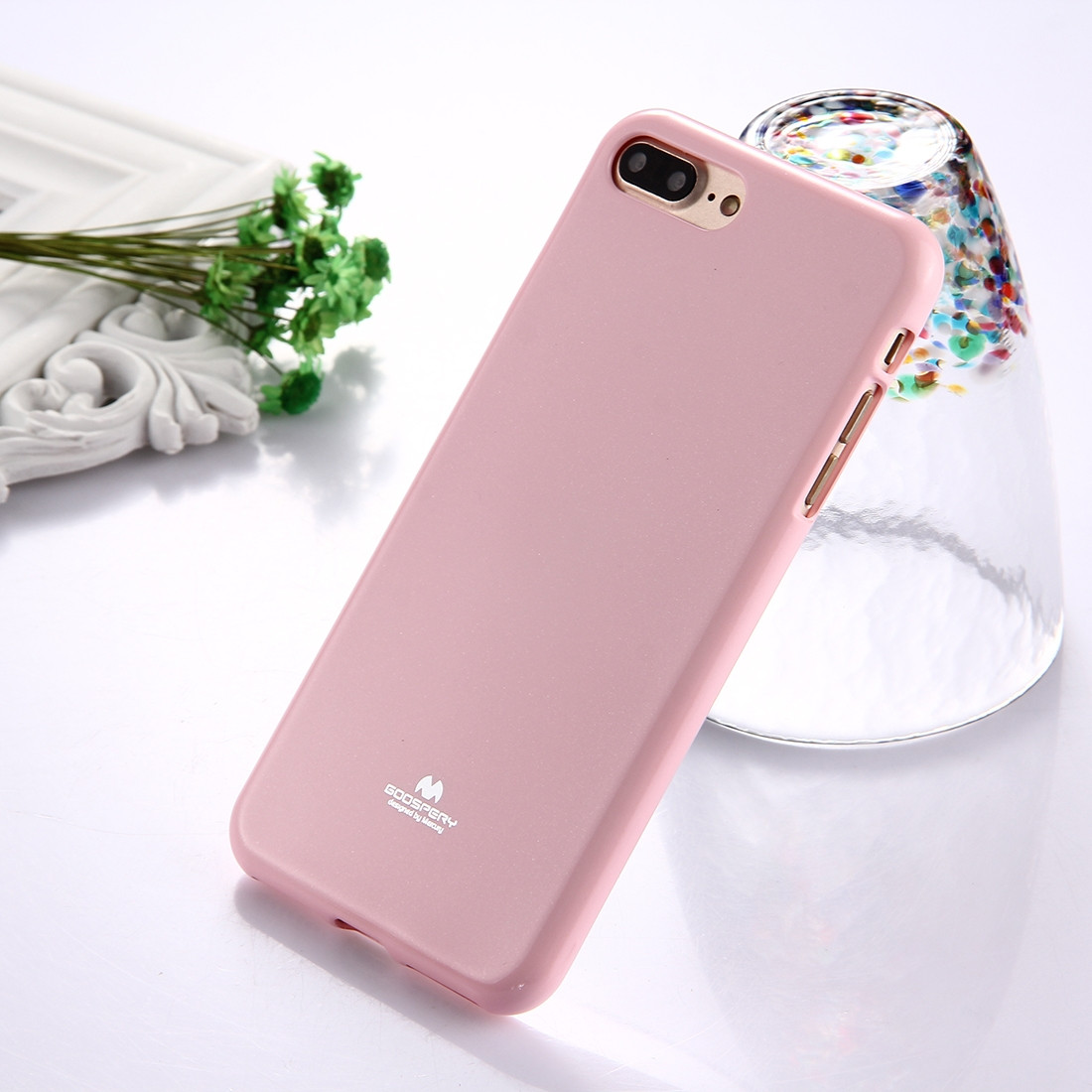 Mercury Goospery Jelly Case Pour Iphone 8 Plus 7 Tpu Glitter Pearl Pink Poudre Cover