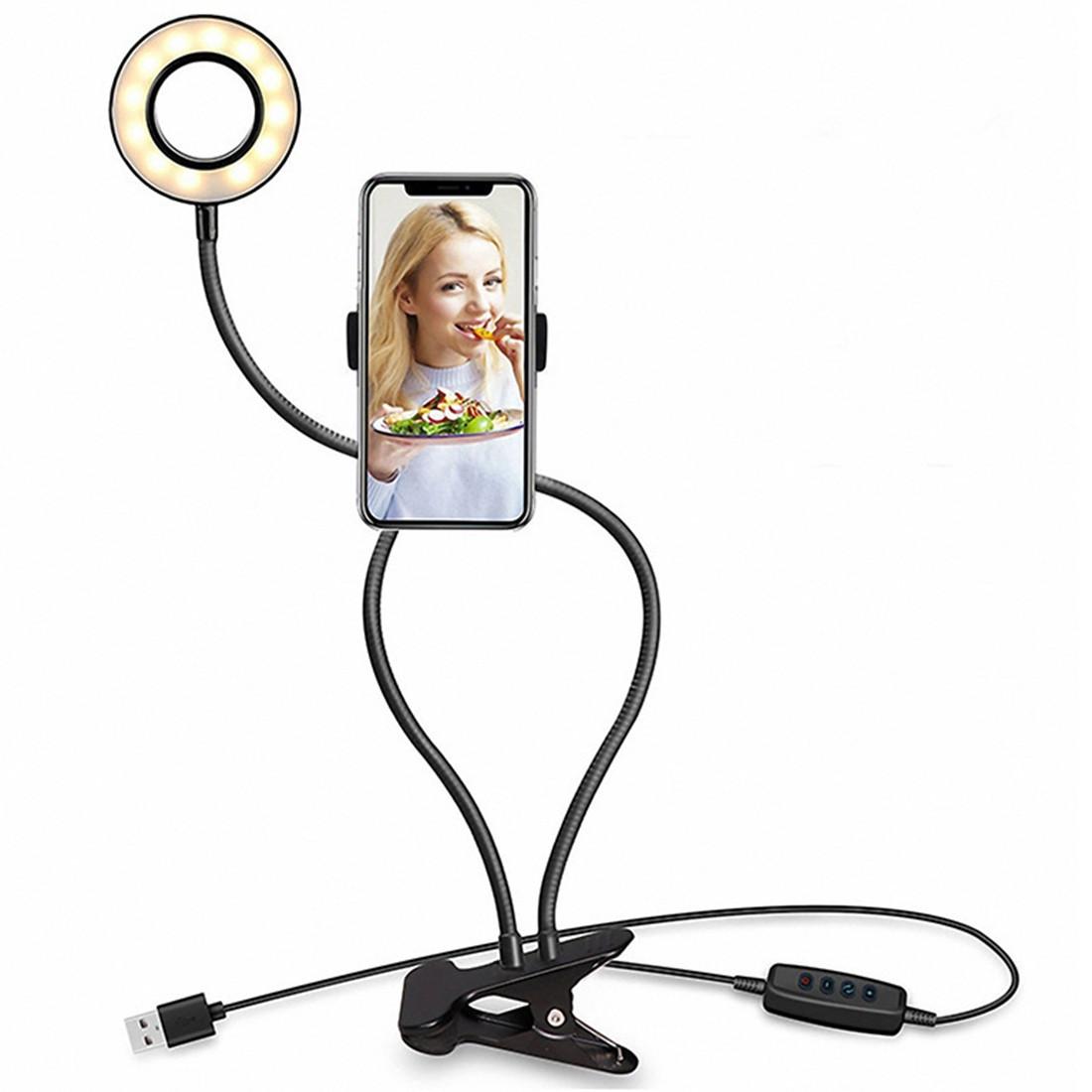 Led Mode10 De Maquillage Anneau Support Usb Light Avec Paresseux Téléphone Selfie Lumière Clip Niveau Portable Stand3 Luminosité N08mnwv