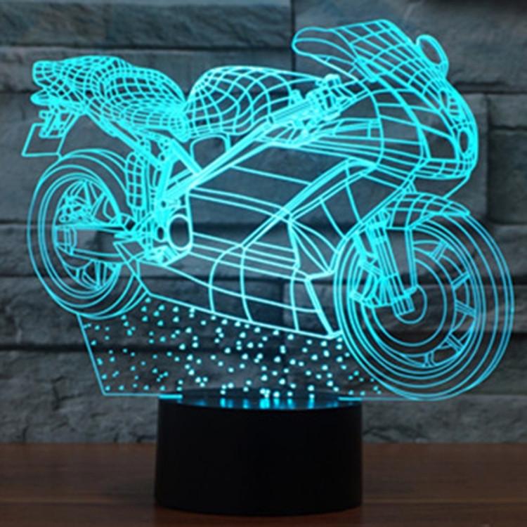 De Couleurs 3d Moto 7 Créative Commande Décoloration Forme Commutation Lumière Lampe Led Stéréo Tactile Visuelle 0mwN8n